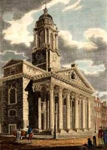Regency Marriage: St George's Church in Hanover Square, London. Engraved by J. Le Keux. Published July 1st 1810