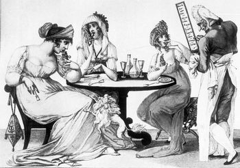 Drawing of people eating ices at a confectionery.